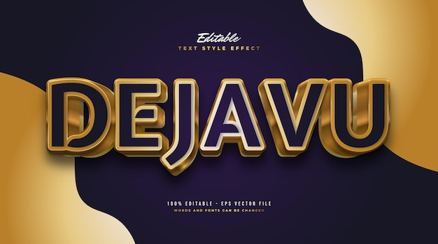 Deja vu text in luxurious blue and gold with 3d embossed effect. editable text style effect