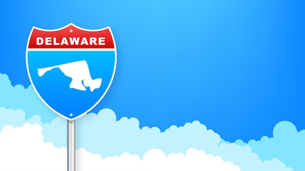 Delaware map on road sign. welcome to state of delaware. vector illustration.