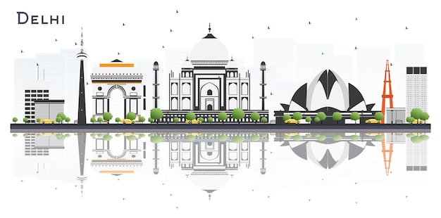 Delhi india city skyline with color buildings and reflections isolated on white background vector