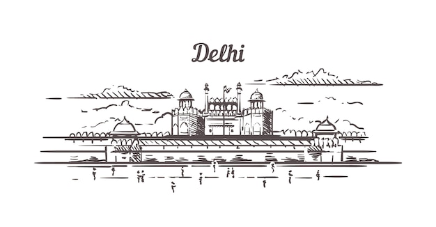 Delhi red fort sketch Premium Vector