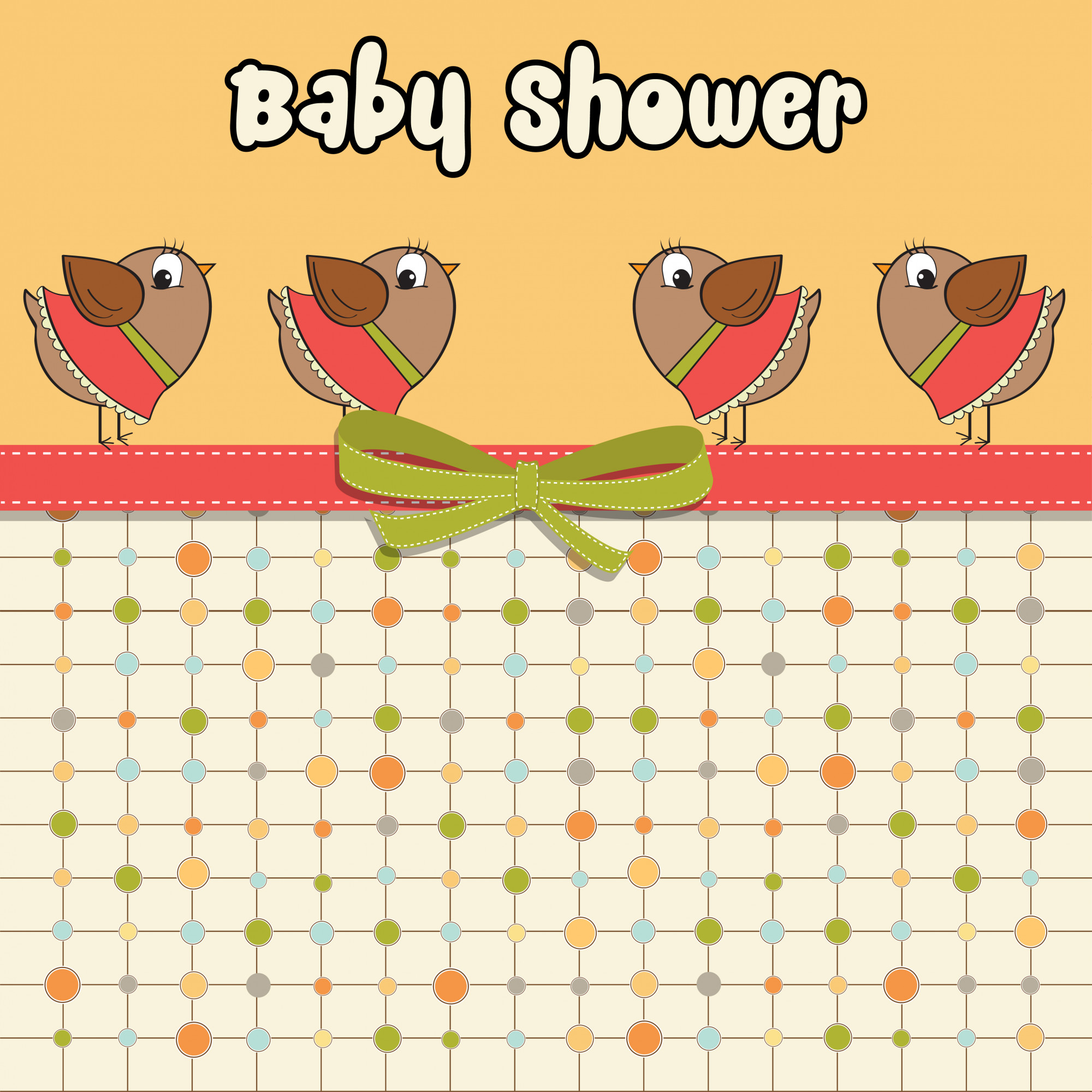 Delicate baby shower card with dressed birds