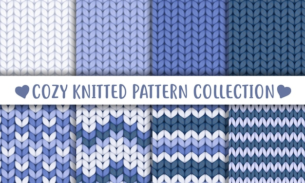 Delicate blue knitted wool seamless pattern