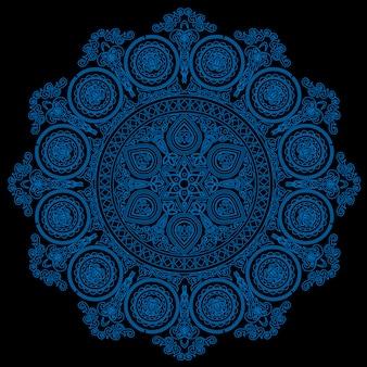 Delicate blue mandala pattern in boho style on black
