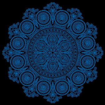 블랙에 boho 스타일의 섬세한 파란색 만다라 패턴