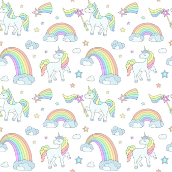 Delicate childrens pattern with unicorns rainbows and clouds on a white background suitable for printing on fabric baby underwear baby wallpaper