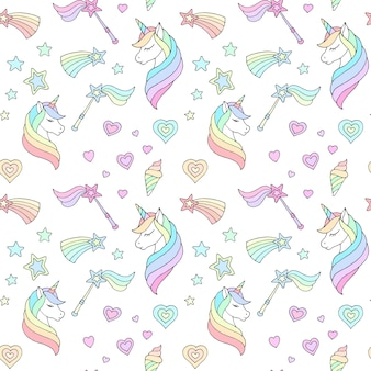 Delicate childrens pattern with unicornsand other objects on a white background