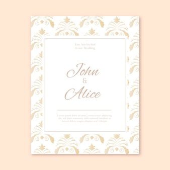 Delicate damask wedding invitation template