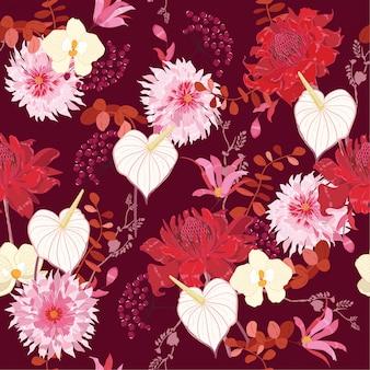섬세 한 꽃 패턴] 식물 모티브 원활한 벡터