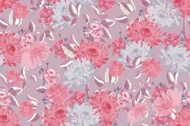 繊細な花柄のシームレスパターン。ピンク、灰色、銀の花、枝、葉