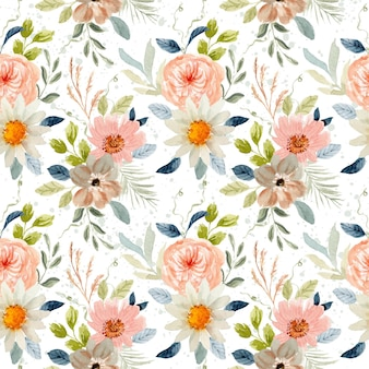 Delicate floral watercolor seamless pattern