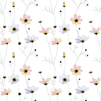 Delicate flowers seamless pattern on white