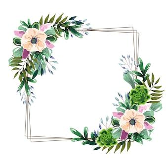 繊細な花の水彩フレームの装飾