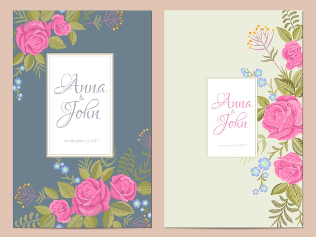 Delicate flowers wedding invitation. save the date greeting card floral design. pink rose rustic traditional vintage embroidery vector template
