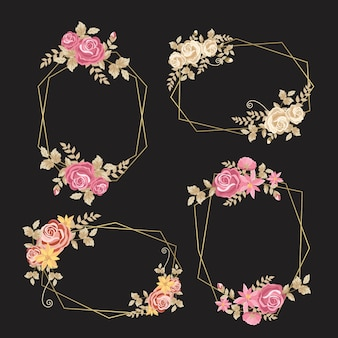 Delicate flowers with leaves on golden frames