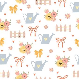 Delicate garden seamless pattern