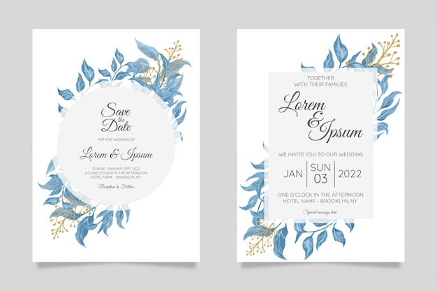 Delicate greenery wedding invitation card template set with elegant leaves frame decoration