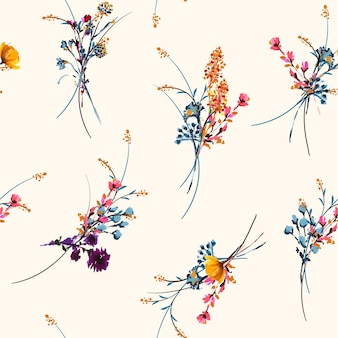 Delicate hand drawn and painted meadow floral seamless pattern vector
