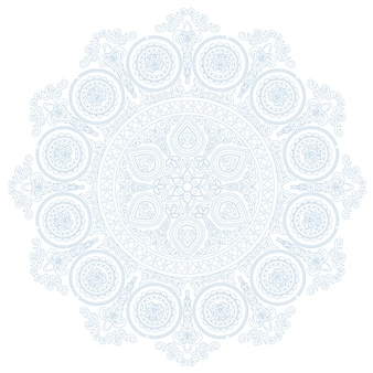 Delicate lace mandala pattern in boho style on white background