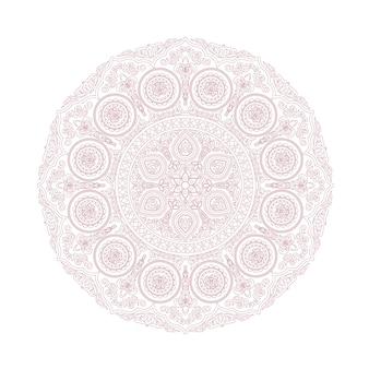Delicate lace mandala pattern in boho style on white