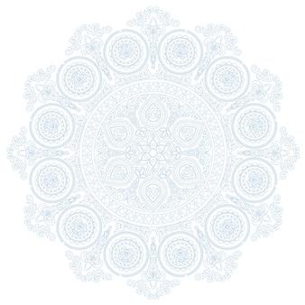 흰색 배경에 boho 스타일의 섬세한 레이스 만다라 패턴