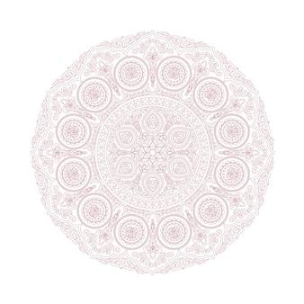 Нежный кружевной узор мандалы в стиле бохо на белом