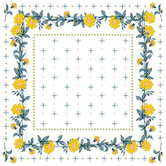 Delicate mood of silk scarf with blooming yellow flower seamless pattern in bandana style.