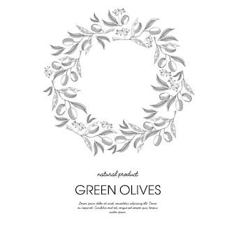 白とオリーブの花の手描きイラストと繊細な飾りラウンドフレームスケッチ構成
