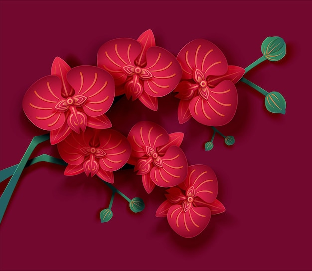 Delicate paper art orchid flower on purple fuchsia background