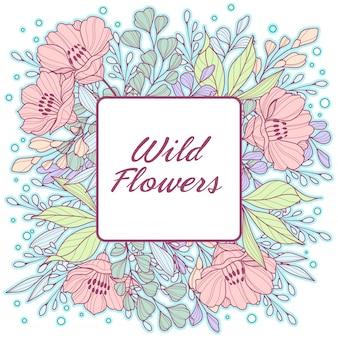 Delicate pastel, wild flowers frame