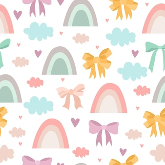 Delicate pattern with rainbows and bows