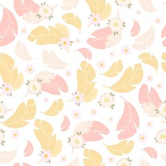 Нежный розовый и желтый узор из перьев и цветов