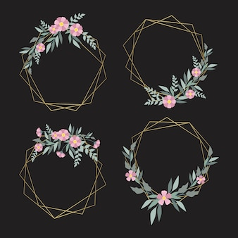 Delicate pink flowers with leaves on golden frames