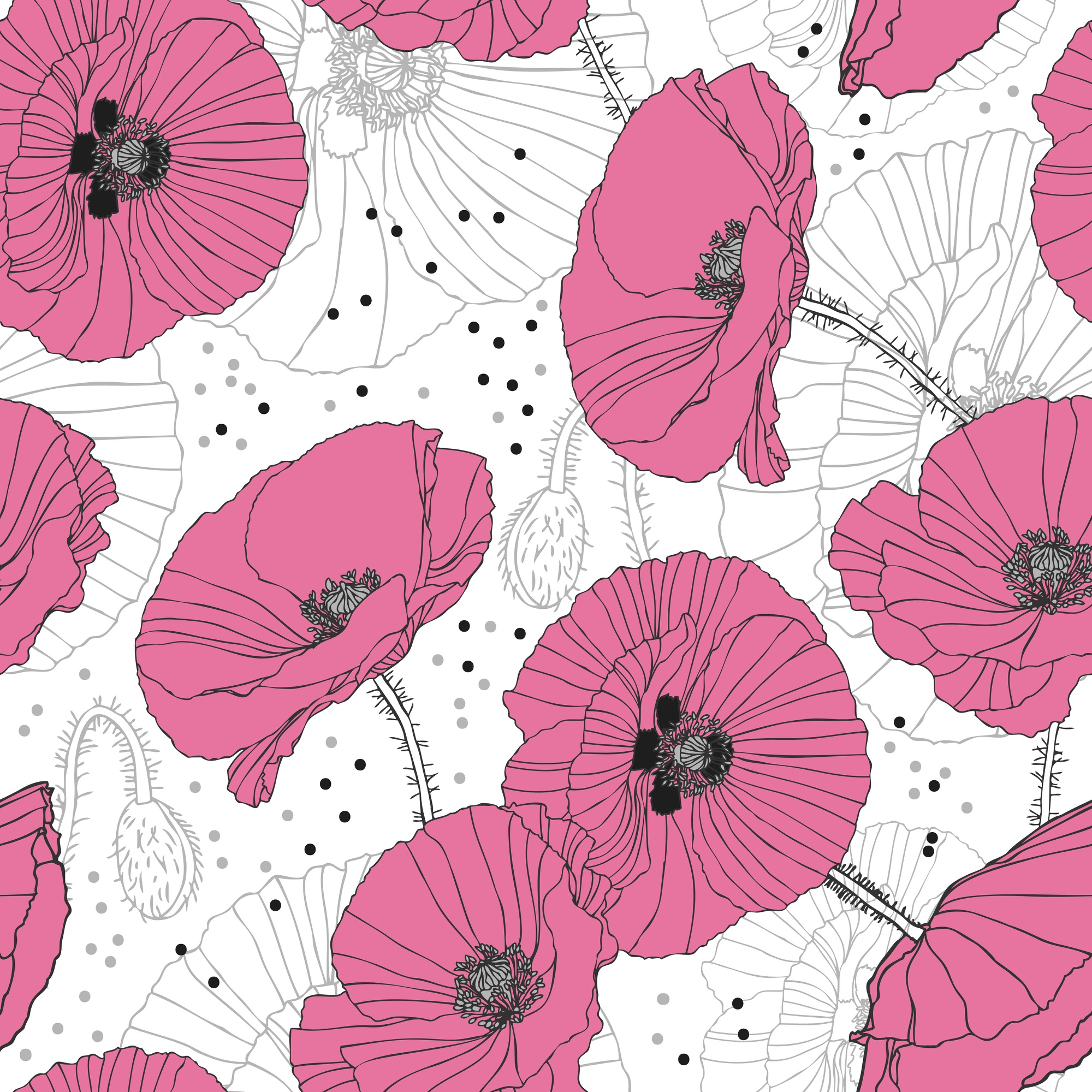 Delicate pink poppies Seamless pattern