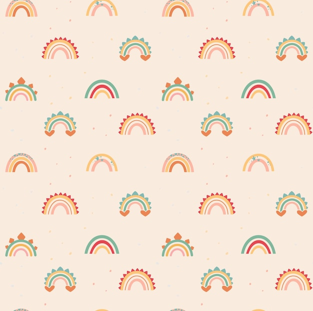 Delicate rainbows in boho style with dino decor elements