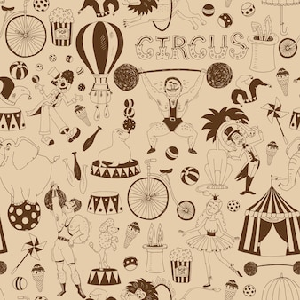 Delicate retro seamless circus background pattern for invitations and wrapping paper