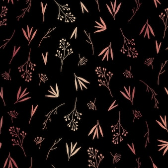 Delicate rose gold leaves seamless pattern
