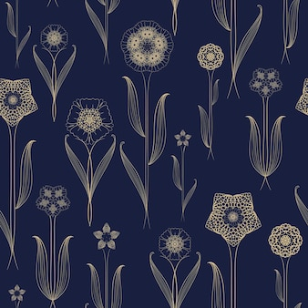 Delicate seamless floral pattern background over blue