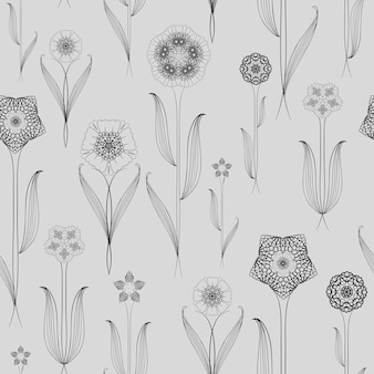 Delicate seamless floral pattern background over grey
