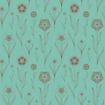 青の上の繊細なシームレスな花柄の背景