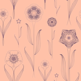 Delicate seamless floral pattern background over pink