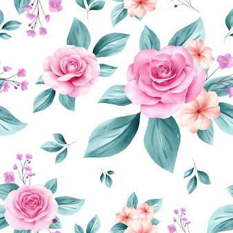 Delicate seamless pattern of blush and soft blue watercolor flowers arrangements