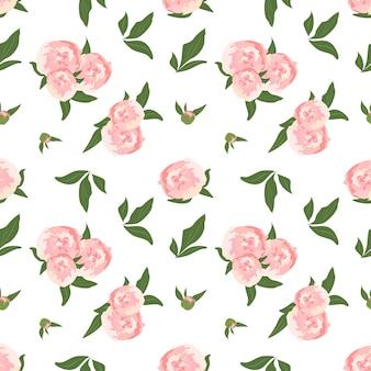 牡丹と繊細なシームレスパターン葉とかわいい花の春や夏のプリントの花