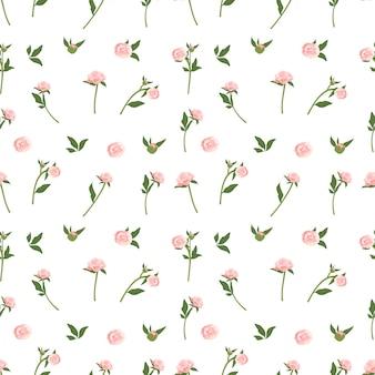 牡丹と繊細なシームレスパターン