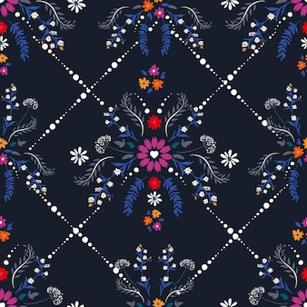 Delicate small flower with heart shape of florals, fantasy seamless pattern vector design,design for fashion , fabric, textile, wallpaper, cover, web , wrapping and all prints on dark blue