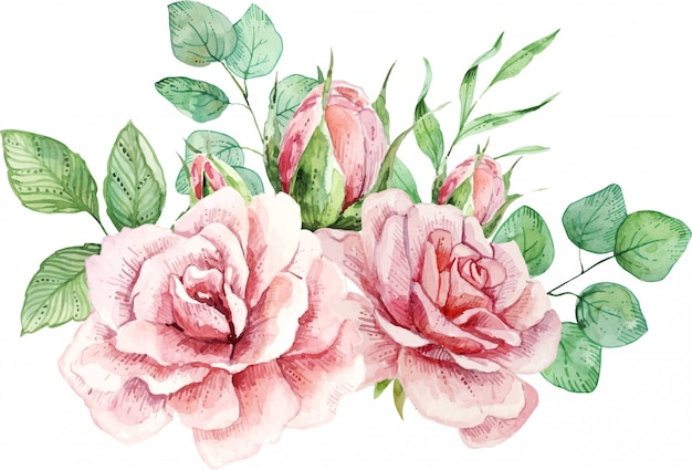 Delicate watercolor composition with roses and leaves.