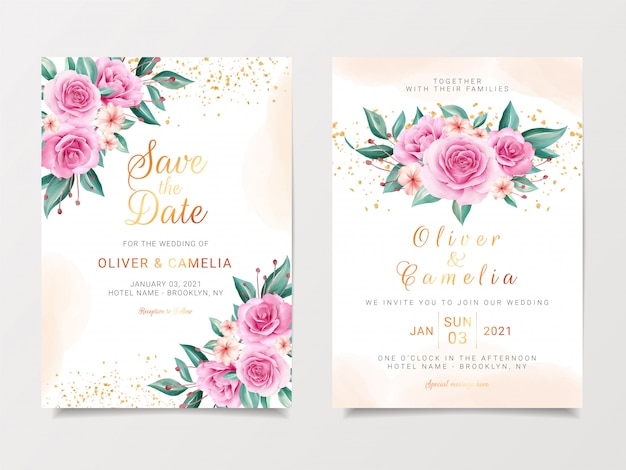 Delicate wedding invitation card template set with watercolor flowers bouquet and gold glitter