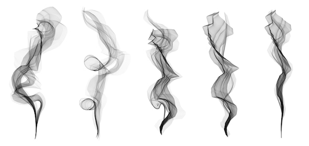 Delicate white cigarette smoke waves texture set.