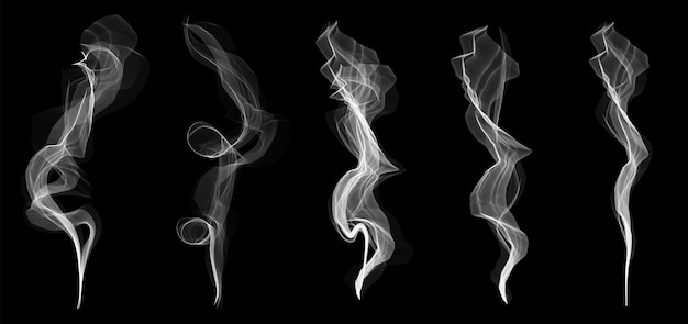 Delicate white cigarette smoke waves texture set