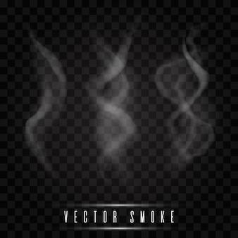 Delicate white cigarette smoke waves