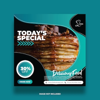 Delicious abstract food social media post colorful promotion template